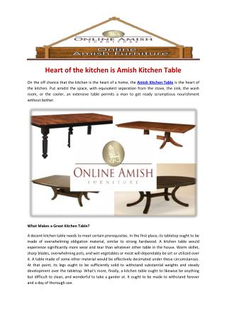 Heart of the kitchen is Amish Kitchen Table