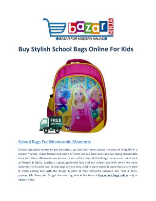 Buy Stylish School Bag Online for Kids