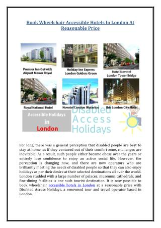 Book Wheelchair Accessible Hotels In London At Reasonable Price