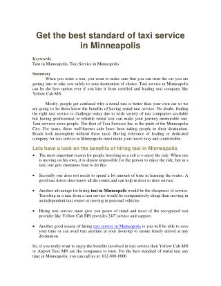 Get the best standard of taxi service in Minneapolis