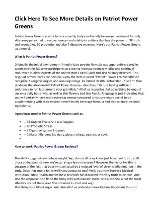 Click Here To See More Details on Patriot Power Greens