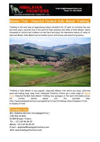 Malana Trek- Himachal Pradesh Kullu Manali Trekking