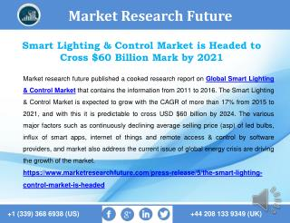 Smart Lighting & Control Market is Headed to Cross $60 Billion Mark by 2021