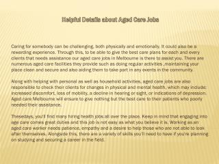 Helpful Details about Aged Care Jobs
