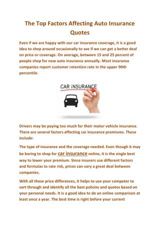 The Top Factors Affecting Auto Insurance Quotes