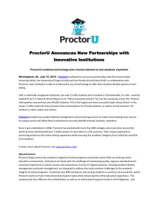 ProctorU Announces New Partnerships with Innovative Institutions