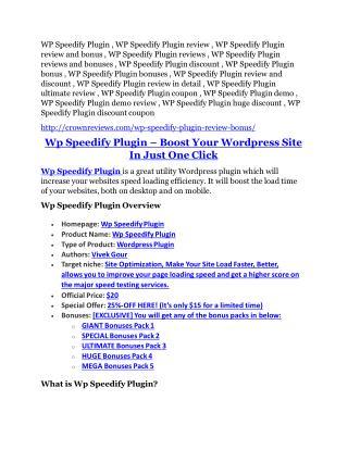 WP Speedify Plugin Review-$9700 Bonus & 80% Discount