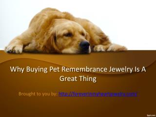 Why Buying Pet Remembrance Jewelry Is A Great Thing