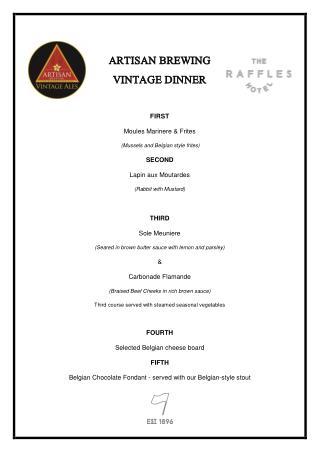 Artisan Brewing Vintage Dinner - The Raffles Hotel