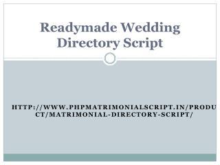 Readymade Wedding Directory Script