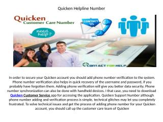 Quicken Customer Support Number