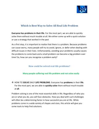 Which is Best Way to Solve All Real Life Problem