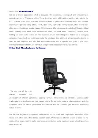 Office Chair Manufacturers in Chennai, Chair Suppliers in Chennai