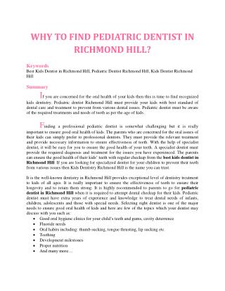 WHY TO FIND PEDIATRIC DENTIST IN RICHMOND HILL?