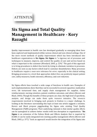 Six Sigma and Total Quality Management in Healthcare