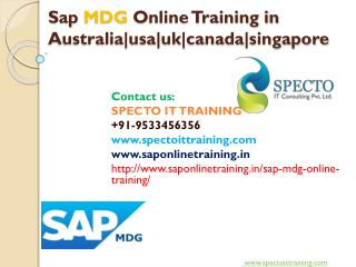 SAP MDG  online training | SAP MDG fastrack online training classes-specto