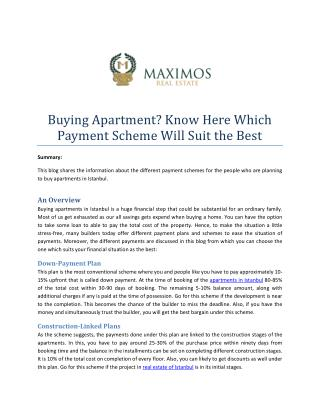 Buying Apartment? Know Here Which Payment Scheme Will Suit the Best