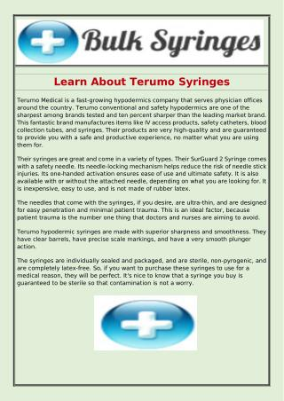 Learn About Terumo Syringes