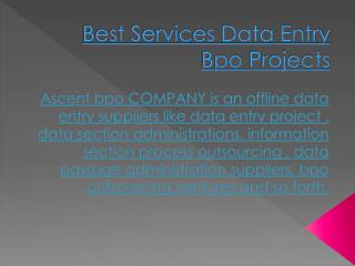 Best Services Data Entry Process Outsourcing