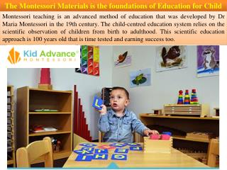 The Montessori Materials is the foundations of Education for Child