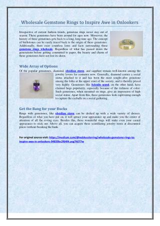 Wholesale Gemstone Rings to Inspire Awe in Onlookers