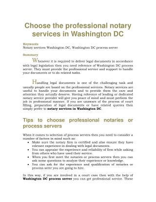 Choose the professional notary services in Washington DC
