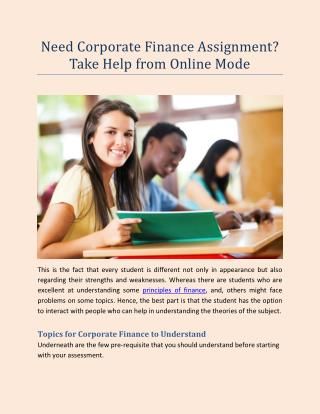 Need Corporate Finance Assignment? Take Help from Online Mode