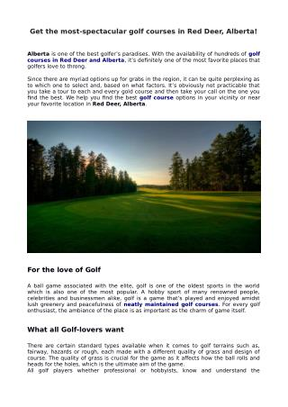 Get the most-spectacular golf courses in Red Deer, Alberta!