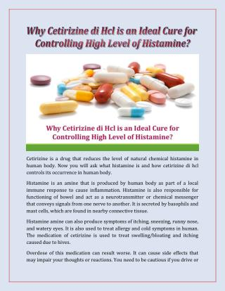 Why Cetirizine di Hcl is an Ideal Cure for Controlling High Level of Histamine?