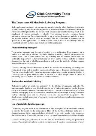 The Importance Of Metabolic Labeling Reagents