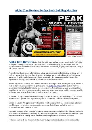Alpha Tren Reviews Perfect Body Building Machine