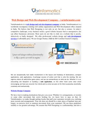 Web Design and Web Development Company - varinformatics.com