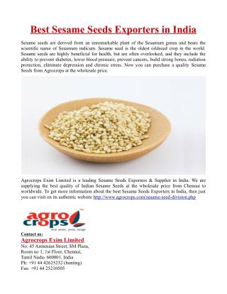 Best Sesame Seeds Exporters in India