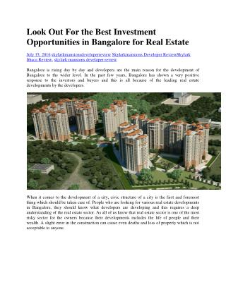 Look Out For the Best Investment Opportunities in Bangalore for Real Estate