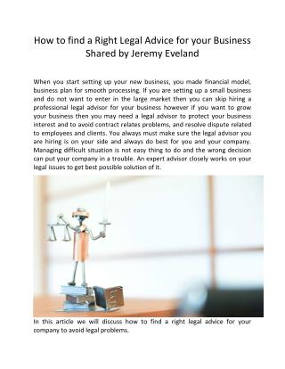 How to find a Right Legal Advice for your Business by Jeremy Eveland