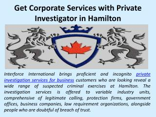 Get Corporate Services with Private Investigator in Hamilton