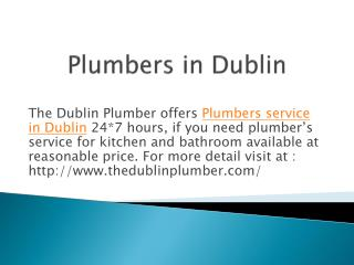 Emergency Plumber Service in Dublin