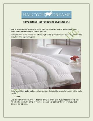 4 Important Tips for Buying Quilts Online - Halcyon Dreams Pty. Ltd.