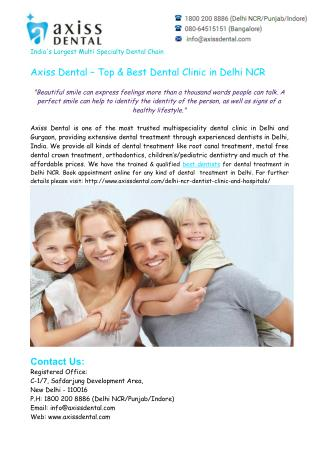 Best Dentist in Delhi NCR – Axiss Dental