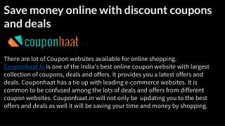 Save money online with discount coupons and deals