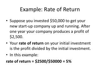 Example: Rate of Return