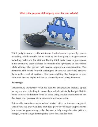 What is the purpose of third party cover for your vehicle?