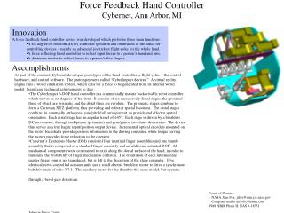 Force Feedback Hand Controller Cybernet, Ann Arbor, MI