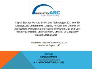 Digital Signage Market: Economically affordable and widespread Advertising medium.