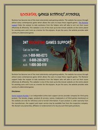 Rockstar Game Support Number