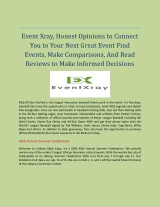Honest Opinions to Connect You to Your Next Great Event Find Events, Make Comparisons, And Read Reviews to Make Informed