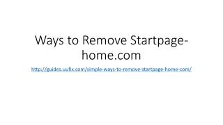 Ways to remove startpage home.com