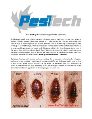 Hire Bed Bugs Exterminator and Pest Control Service