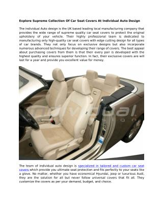 Explore Supreme Collection Of Car Seat Covers At Individual Auto Design