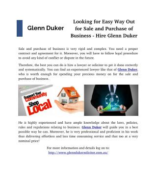 Looking for Easy Way Out for Sale and Purchase of Business - Hire Glenn Duker